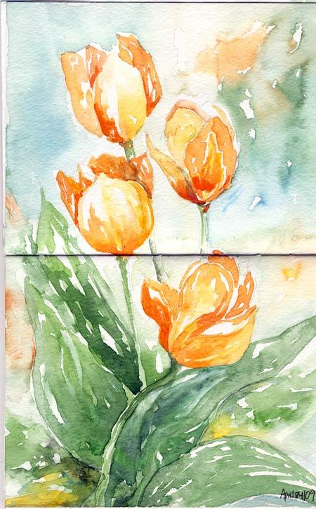 Orangetulips_watercolour